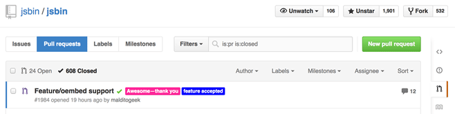 Pull request that landed oEmbed